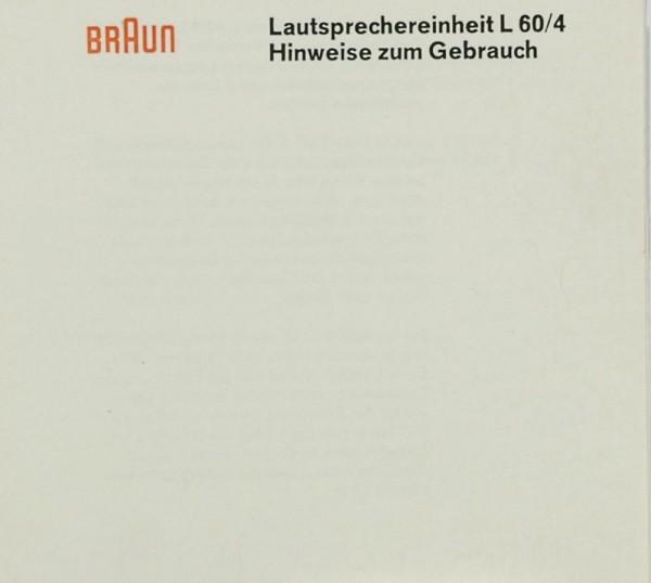 Braun L 60/4 Bedienungsanleitung