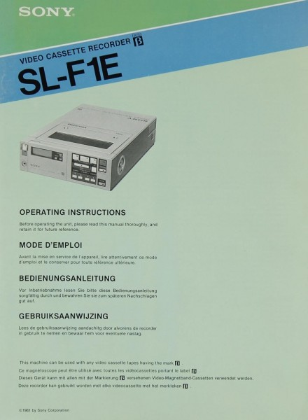 Sony SL-F 1 E Bedienungsanleitung