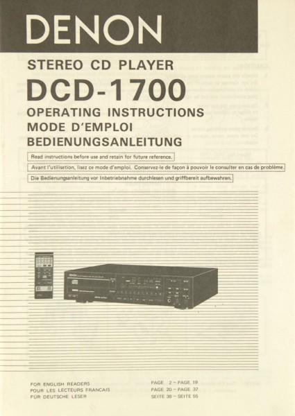 Denon DCD-1700 Bedienungsanleitung