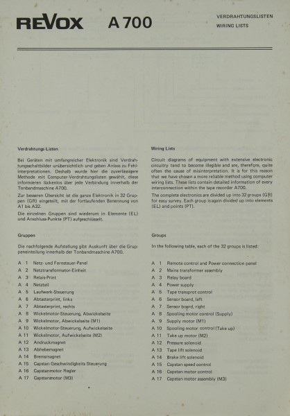 Revox A 700 Schaltplan / Serviceunterlagen