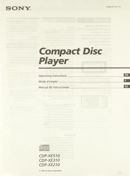 Sony CDP-XE 510 / CDP-XE 310 / CDP-XE 210 Bedienungsanleitung
