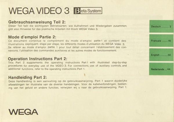 Wega Video 3 Bedienungsanleitung