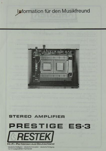 Restek Prestige ES 3 Prospekt / Katalog