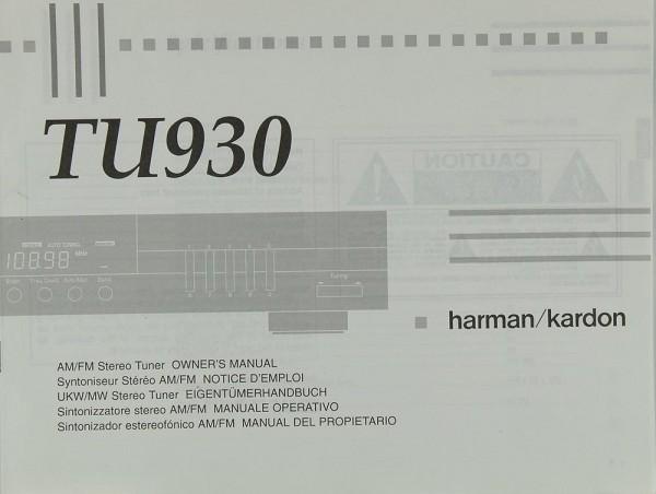 Harman / Kardon TU 930 Bedienungsanleitung