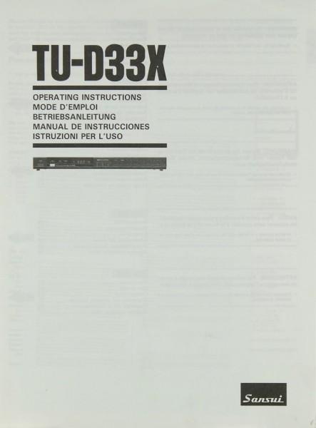 Sansui TU-D 33 X Bedienungsanleitung