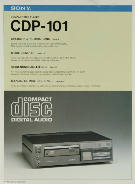 Sony CDP-101 Bedienungsanleitung
