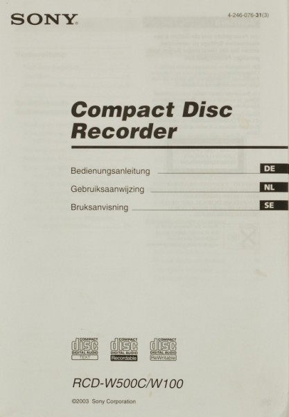 Sony RCD-W500C / W100 Bedienungsanleitung