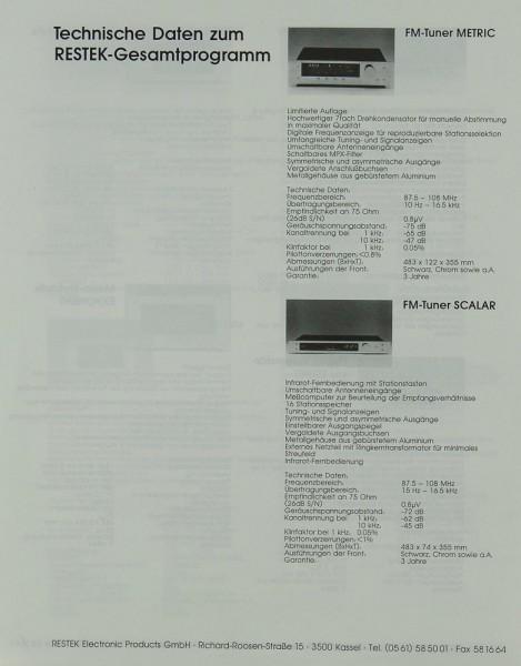 Restek Technische Daten zum Restek-Gesamtprogramm Prospekt / Katalog