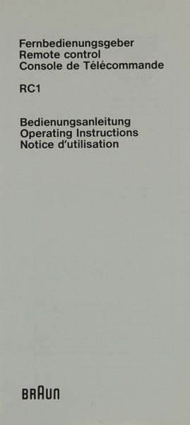 Braun RC 1 Bedienungsanleitung