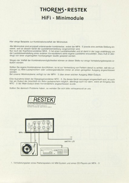 Thorens / Restek HiFi - Minimodule 5er Serie Bedienungsanleitung