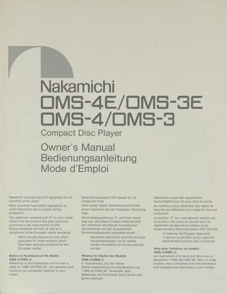 Nakamichi OMS-4 E / OMS-3 E / OMS-4 / OMS-3 Bedienungsanleitung