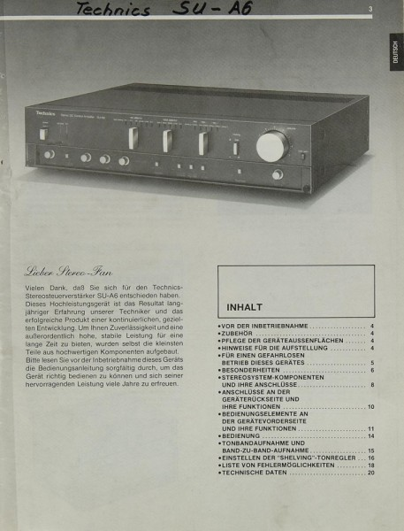 Technics SU-A 6 Manual | Pre Amplifiers | Technics | Manuals