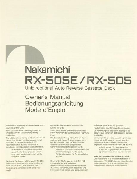 Nakamichi RX-505 E / RX-505 Bedienungsanleitung