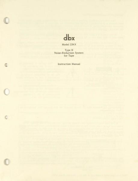 DBX 224 X Bedienungsanleitung