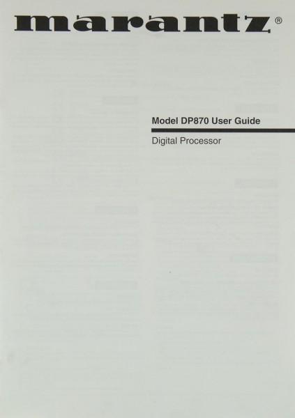 Marantz DP 870 Bedienungsanleitung