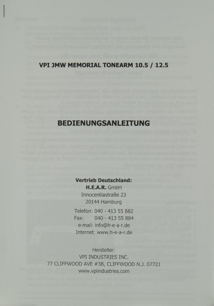 VPI JMW Memorial Tonearm 10.5 / 12.5 Bedienungsanleitung