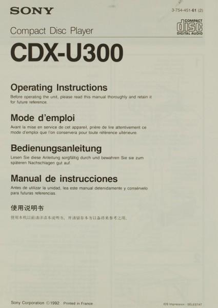 Sony CDX-U 300 Bedienungsanleitung
