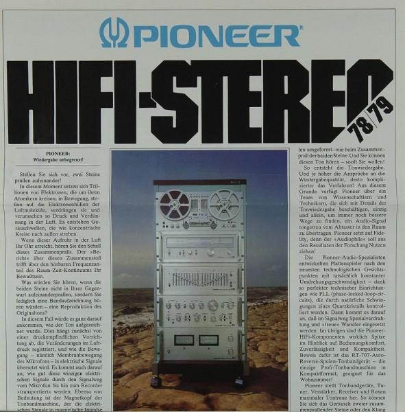 Pioneer Hifi Stereo 78/79 Prospekt / Katalog