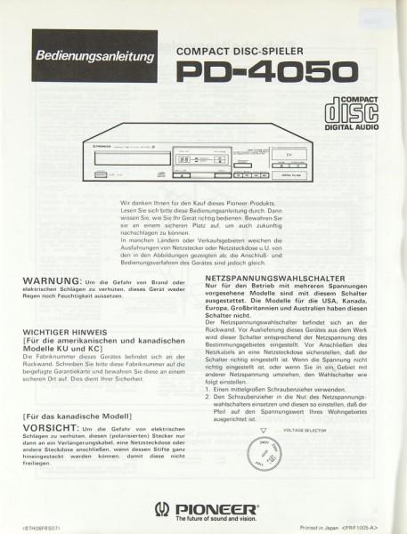 Pioneer PD-4050 Bedienungsanleitung