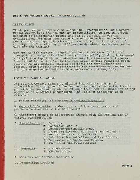 Krell KBL / KPA Bedienungsanleitung