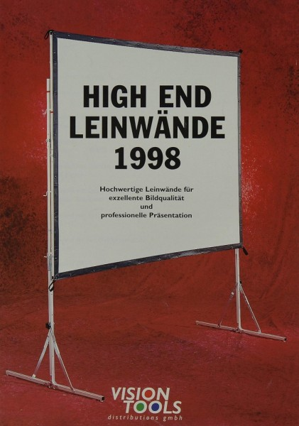 Vision Tools High End Leinwände 1998 Prospekt / Katalog