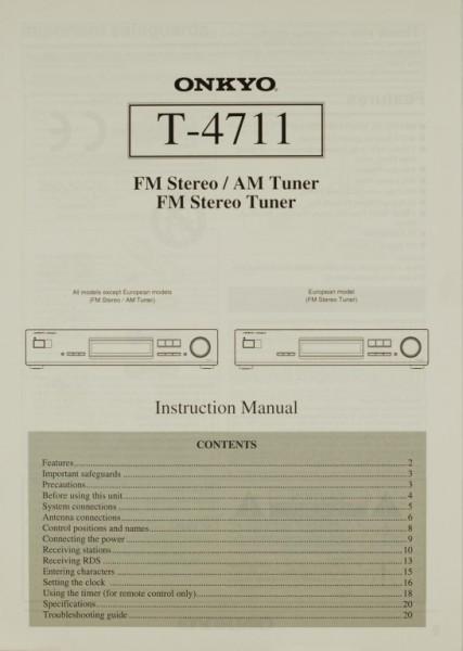 Onkyo T-4711 Bedienungsanleitung