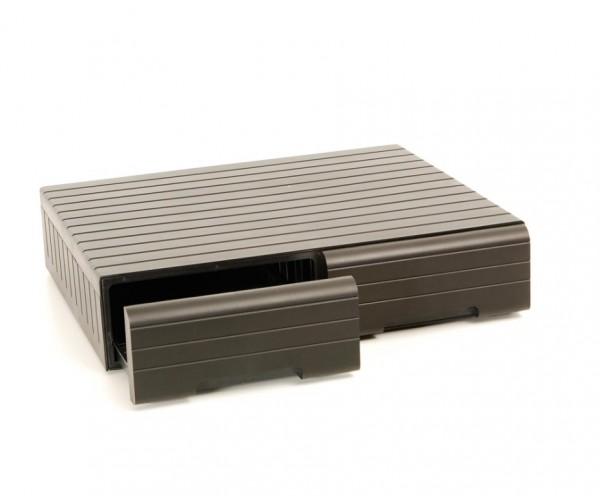 Box mit Schubfächern für 66 Kassetten