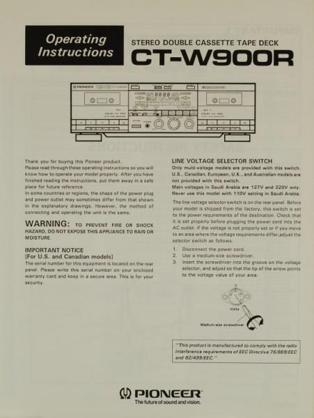 Pioneer CT-W 900 R Bedienungsanleitung