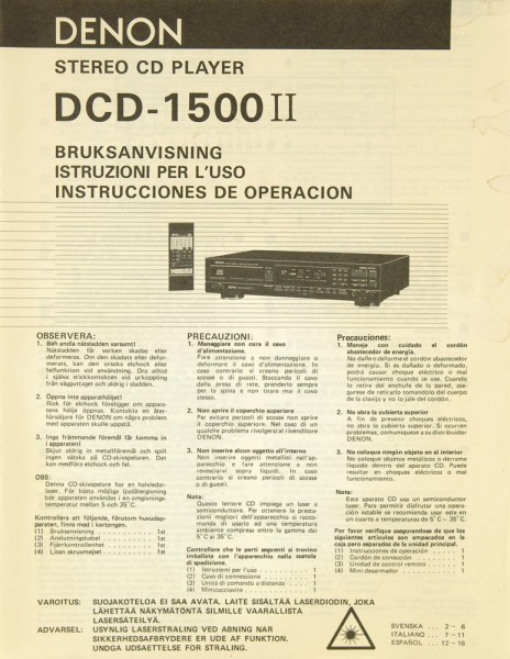 Denon DCD-1500 II Bedienungsanleitung