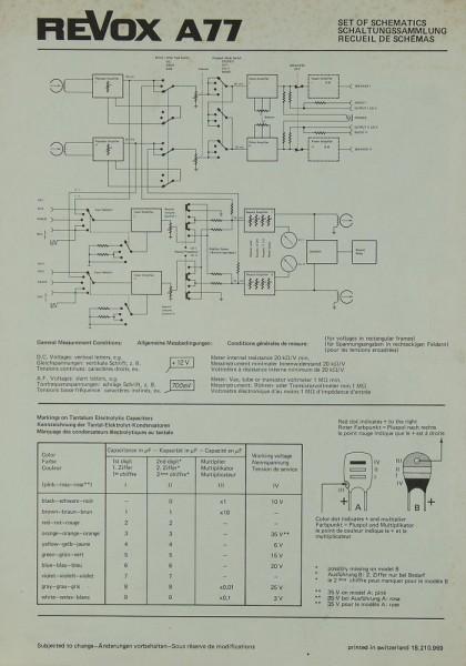 Revox A 77 Schaltplan / Serviceunterlagen