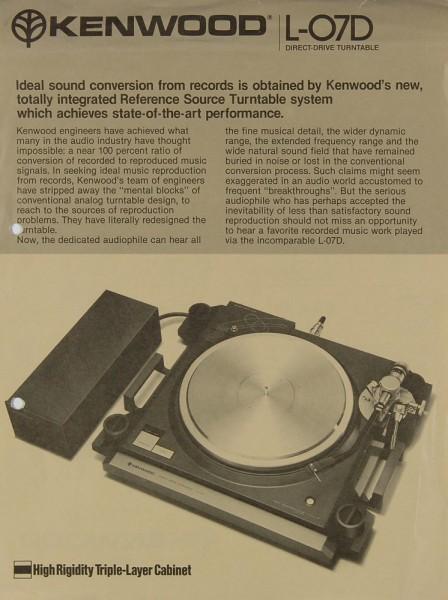 Kenwood L-07 D Prospekt / Katalog