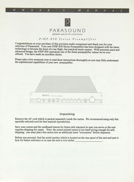 Parasound P/HP-850 Bedienungsanleitung