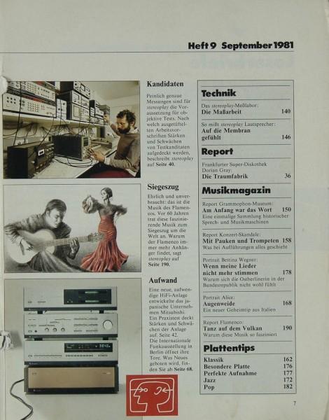 Stereoplay 9/1981 Zeitschrift