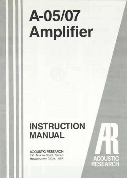 Acoustic Research A-05 / 07 Bedienungsanleitung