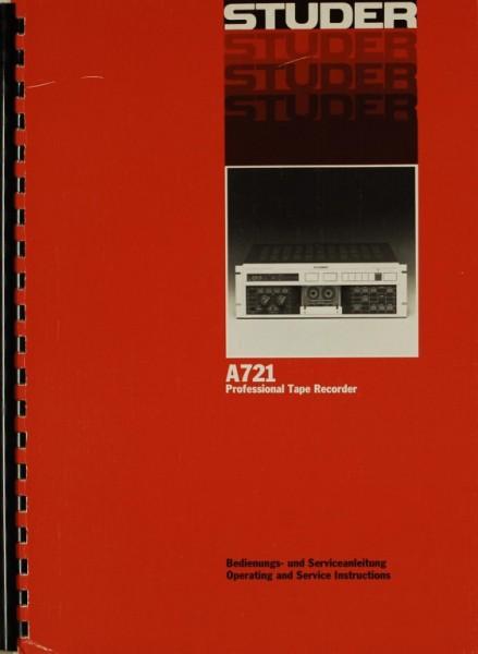 Studer A 721 Bedienungsanleitung