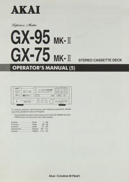 Akai GX-95 MK-II / GX-75 MK-II Bedienungsanleitung
