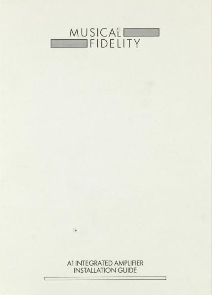 Musical Fidelity A 1 Bedienungsanleitung