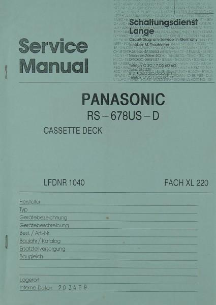 Panasonic Technics RS-678 US-D Schaltplan / Serviceunterlagen ...