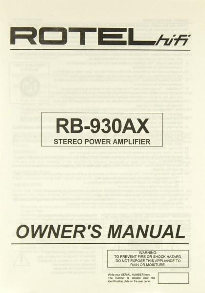 Rotel RB-930 AX Bedienungsanleitung