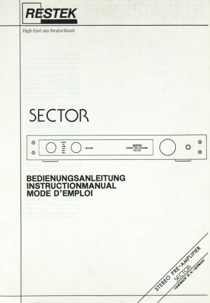 Restek Sector Bedienungsanleitung