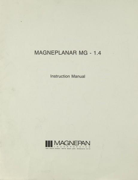 Magnepan Magneplanar MG - 1.4 Bedienungsanleitung