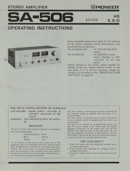 Pioneer SA-506 Bedienungsanleitung