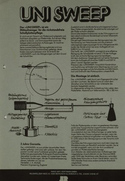 JR Transrotor Uni Sweep Prospekt / Katalog