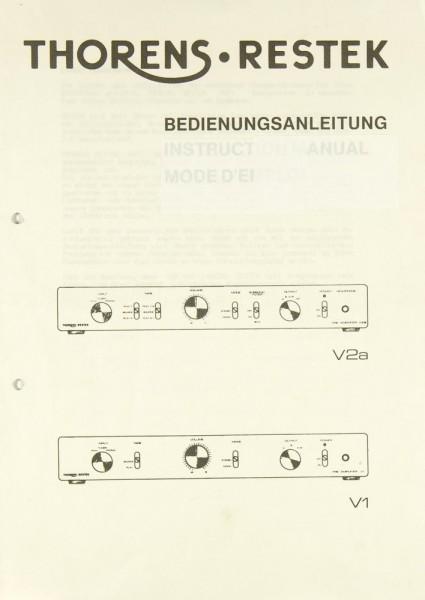 Thorens/Restek V 2a / V 1 Bedienungsanleitung