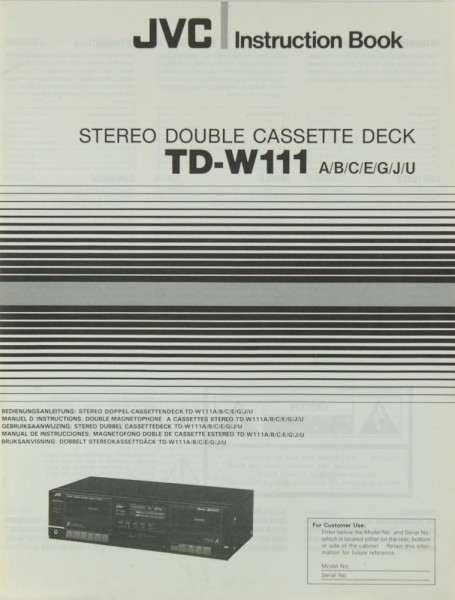 JVC TD-W 111 A/B/C/E/G/J/U Bedienungsanleitung