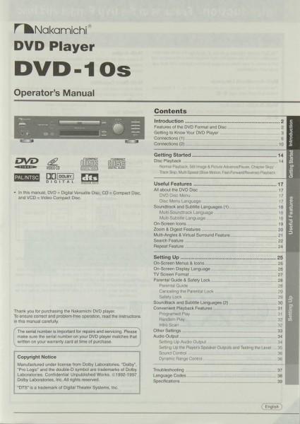 Nakamichi DVD-10s Bedienungsanleitung