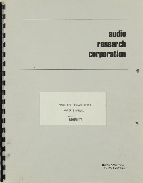Audio Research Model SP 11 Mark II Bedienungsanleitung