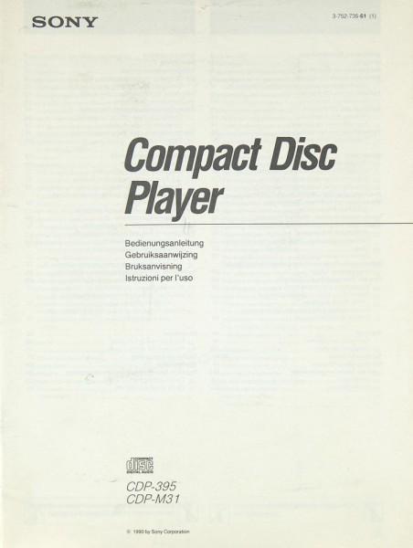 Sony CDP-395 / CDP-M 31 Bedienungsanleitung