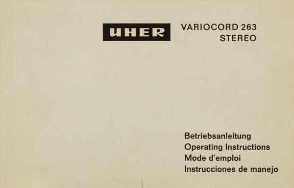 Uher Variocord 263 Stereo Bedienungsanleitung