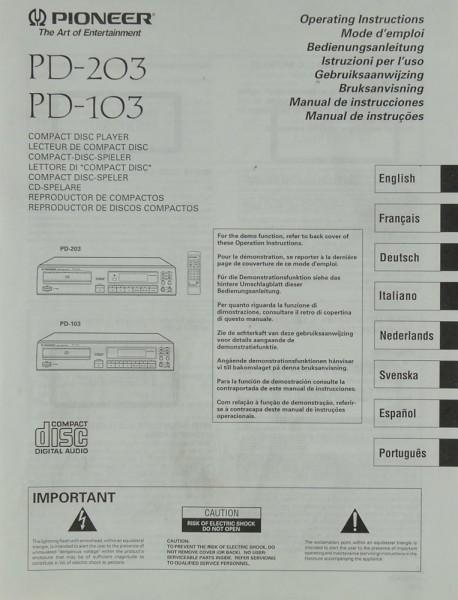 Pioneer PD-203 / 103 Bedienungsanleitung